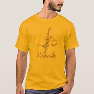 Yoga Pose handstand, om namaste gold t shirts