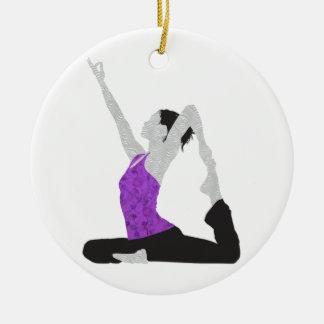 Yoga Pose Round Ceramic Decoration