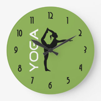 Yoga Pose Silhouette on Green Background Large Clock