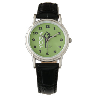 Yoga Pose Silhouette on Green Background Monogram Watch