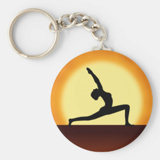 Yoga Pose Silhouette Sunrise Basic Round Key Rings