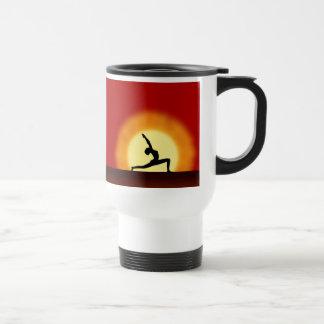 Yoga Pose Silhouette Sunrise Coffee Travel Mugs
