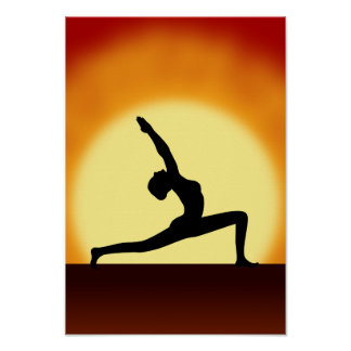 Yoga Pose Silhouette Sunrise Portrait Art Prints