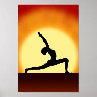 Yoga Pose Silhouette Sunrise Portrait Art Prints Poster