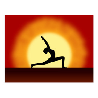 Yoga Pose Silhouette Sunrise Post Cards