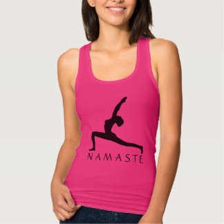 Yoga Pose Silhouette Women's Fine Jersey Tank Top