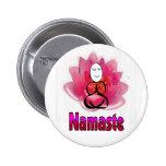 "Yoga Pose with Lotus Flower ""Namaste"" 6 Cm Round Badge"