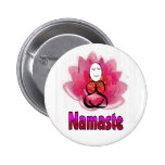 """Yoga Pose with Lotus Flower """"Namaste"""" Buttons"""