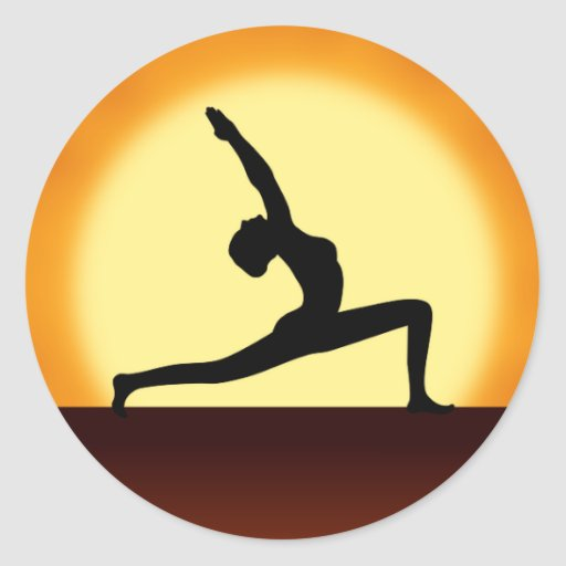 Yoga Pose Woman Silhouette Sunrise Round Stickers Stickers