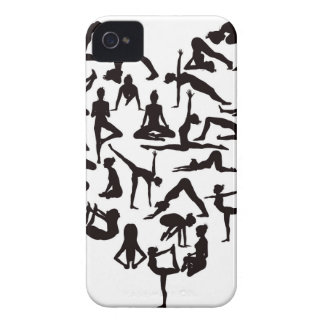 Yoga Poses Silhouettes Heart iPhone 4 Cases