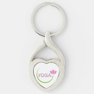 YOGA poses with a pink lotus Key Ring