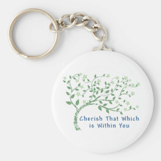 Yoga Quote: Cherish That Which is Within You Basic Round Button Key Ring