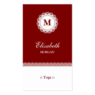 Yoga Red White Lace Monogram Pack Of Standard Business Cards
