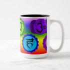 YOGA REIKI SEVEN CHAKRA SYMBOL MUG. (RAINBOW BG) Two-Tone COFFEE MUG