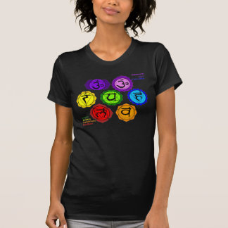 YOGA REIKI SEVEN CHAKRAS SYMBOLS BLACK T-SHIRT. T-Shirt