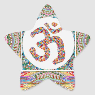 YOGA Room and OM Mantra at Back n Center Star Stickers
