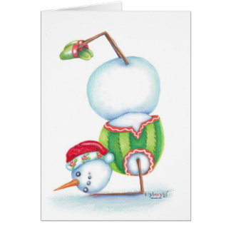 Yoga snowman christmas card/ scandinavian flair