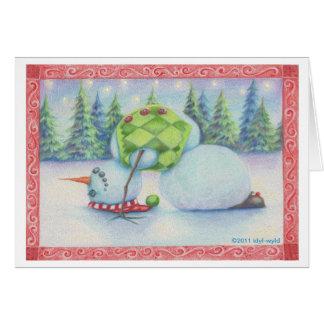 Yoga snowman christmas card/ scandinavian flair greeting card