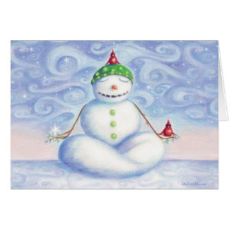 Yoga snowman greeting card by idyl-wyld design