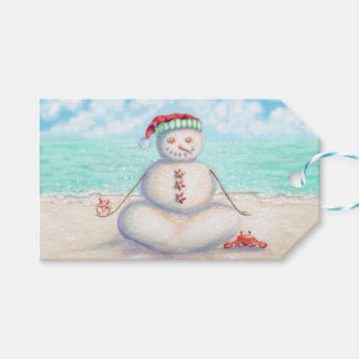 Yoga snowman on the beach gift tags