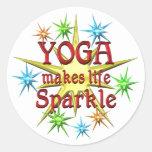 Yoga Sparkles Round Stickers