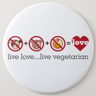 Yoga Speak : Live Love...Live Vegetarian 6 Cm Round Badge