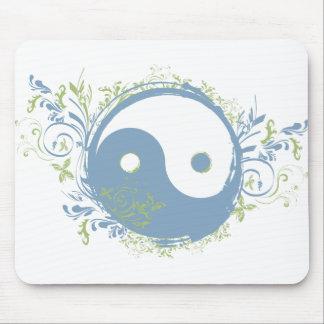 Yoga Speak : Pretty Blue Yin-Yang Symbol Mouse Pad