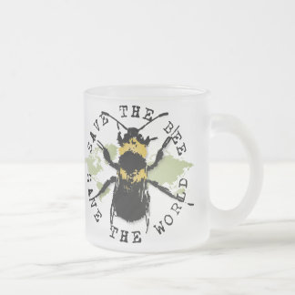 Yoga Speak : Save The Bee ... Save The World! Frosted Glass Coffee Mug