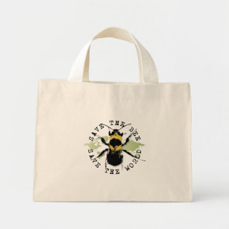 Yoga Speak : Save The Bee ... Save The World! Mini Tote Bag