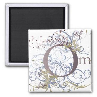 Yoga Speak : Swirling Om Design Square Magnet