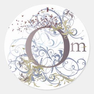 Yoga Speak : Swirling Om Design Round Sticker