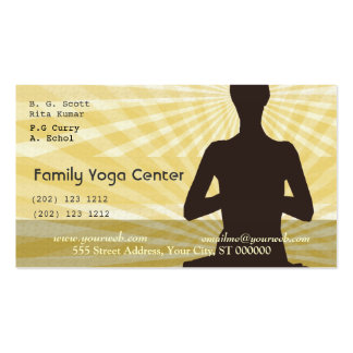Yoga Spiritual Meditation Salutations Pack Of Standard Business Cards