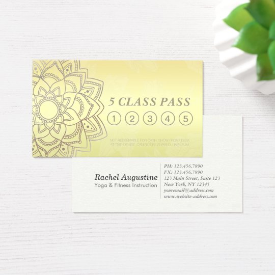 Yoga Studio Class Pass Black Gold Mandala Loyalty Business Card