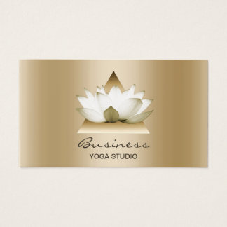 Yoga Studio Modern Gold Lotus Elegant Horizontal Business Card