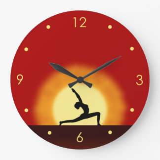 Yoga Sunrise Pose Silhouette Customizable Clocks