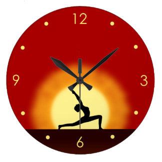 Yoga Sunrise Pose Silhouette Customizable Clocks