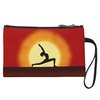 Yoga Sunrise Pose Silhouette Small Clutch Purse Wristlet Clutch