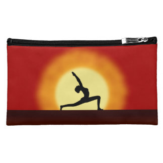 Yoga Sunrise Pose Silhouette Sueded Cosmetic Bags