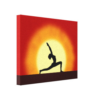 Yoga Sunrise Pose Silhouette Wrapped Canvas Prints