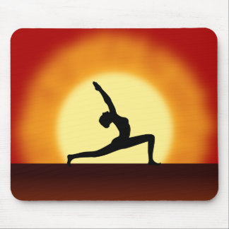 Yoga Sunrise Woman Posing Silhouette Mouse Mat