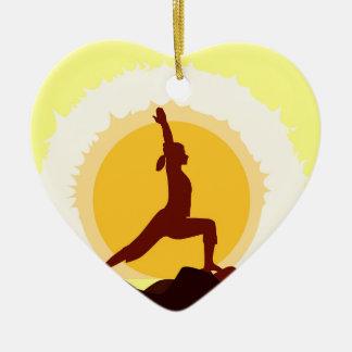 Yoga Sunset Ceramic Heart Decoration