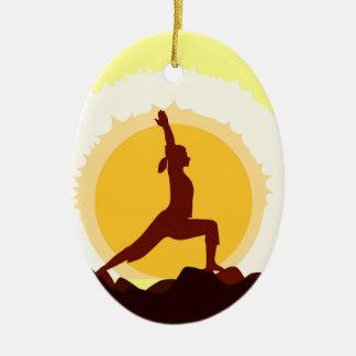 Yoga Sunset Ceramic Oval Decoration