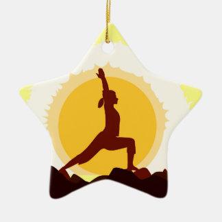 Yoga Sunset Ceramic Star Decoration