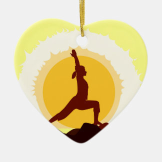 Yoga Sunset Christmas Ornament