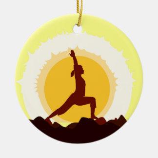 Yoga Sunset Round Ceramic Decoration