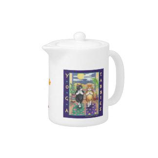 Yoga Tabbies Teapot W/Bud & Tony