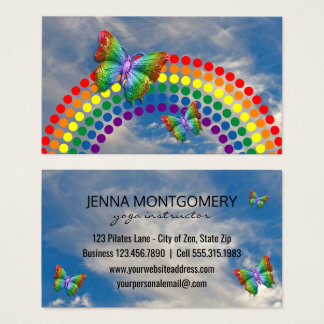 Yoga Teacher | Rainbow Butterfly Polka Dots Business Card