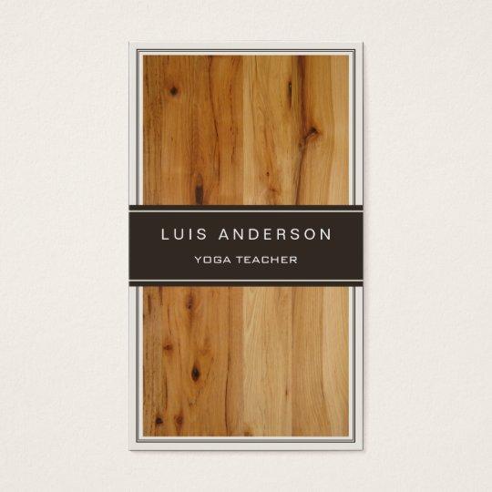 Yoga Teacher - Stylish Wood Texture Business Card