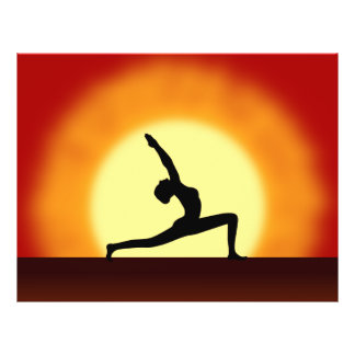 Yoga Teacher Sunrise Posing Woman Silhouette Flyer