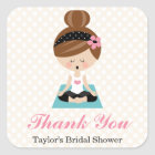 Yoga Themed Bridal Shower Thank You Favour Square Sticker